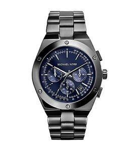 989f15a1f409 Image is loading NEW-MICHAEL-KORS-REAGAN-GUNMETAL-TONE-DARK-BLUE-