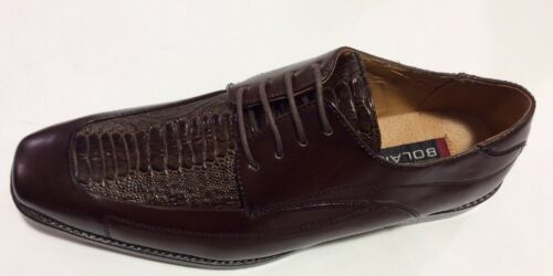 Men/'s Shoes BOLANO OXFORD MAN MADE BROWN SMOOTH AND OSTRICH PRINT NEW WITH BOX