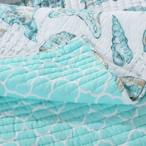 QUILT SET CARIBBEAN BLUE BEACH CRUZ AQUA GREEN OCEAN SHELL STARFISH King