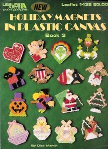 Holiday-Magnets-in-Plastic-Canvas-Book-3-Leisure-Arts-1432-Christmas-Halloween