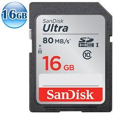 SANDISK ULTRA SDHC SD CLASS10 16GB 16G Flash Memory Card Video Full HD 80MB/s*