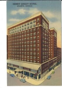 CB-322-GA-Atlanta-Henry-Grady-Hotel-Linen-Postcard-Old-Cars-Bird-039-s-Eye-view