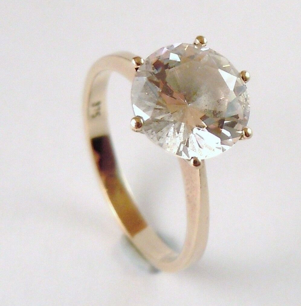 100% Genuine Vintage 9ct.Solid Yellow gold Huge 3cts CZ Solitaire Ring Sz 6.5 US