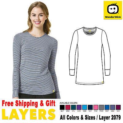 WonderWink Scrubs New Layer Medical Uniform Silky Long Sleeve Tee Free Shipping