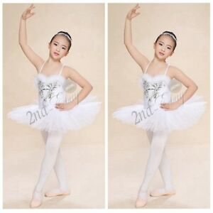 8a2643d89 Girls Sequined Beads Swan Costume Ballet Dance Leotard Tutu Dress ...