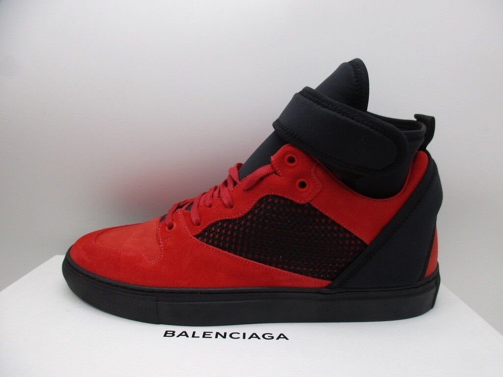 Balenciaga Mens Flame Red Suede High Top Sneakers shoes  43