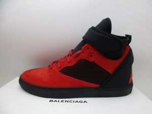 Balenciaga Mens Flame Red Suede High Top Sneakers Shoes 44
