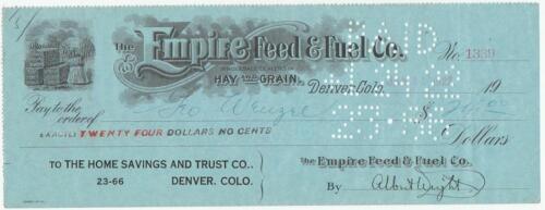 1920-22 Check Empire Feed /& Fuel Co Co. Wholesale Dealers Hay /& Grain Denver