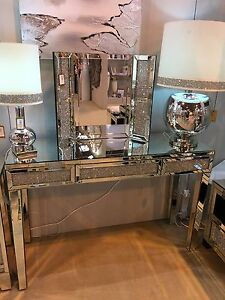 Sparkly Silver Mirrored Diamond Glitz Crushed Crystal Console Dressing Table Ebay