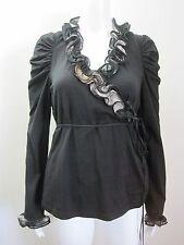 ANNE FONTAINE Black Nesta Pima Cotton Wrap Blouse Shirt Top, sz 42