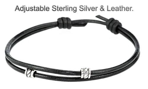 9AB-333 HANDMADE Sterling Silver Adjustable Sliding Leather ANKLET Men Bracelet.