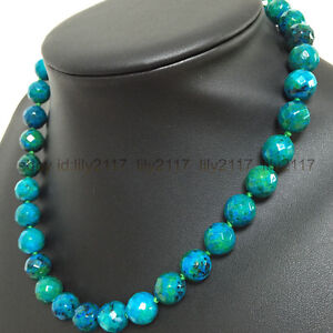 AA-Pretty-10mm-Green-Azurite-Faceted-Round-Beads-Gemstone-Necklace-18-034