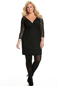 8be9cc1f6ea LANE BRYANT Lace Illusion Dress Plus size 28 Black Surplice ...
