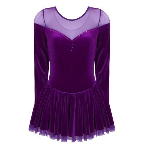 Women/'s Adult Dance Costume Velvet Ballet Leotard Dress Dancing Gymnastic Tutu