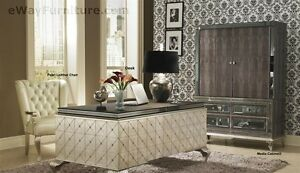 New Silver Executive Desk Home Office Furniture Crystal Accents Hollywood Style