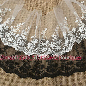 15cm-1yard-Embroidered-Tulle-lace-trim-Ribbon-for-dress-veil-Sewing-crafts-FP35A