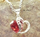 Silver Plated Double Hearts Crystal Pendant For Necklace Earring