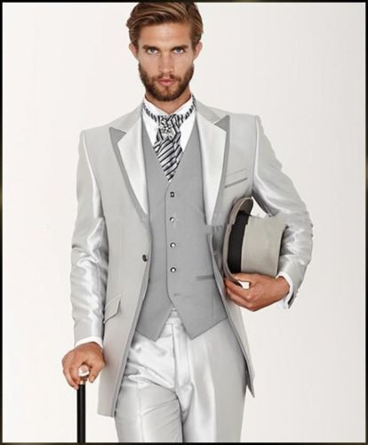 3PCS Silver Men Suits Groom Tuxedos Wedding Formal 38 40 42 44 46 Custom