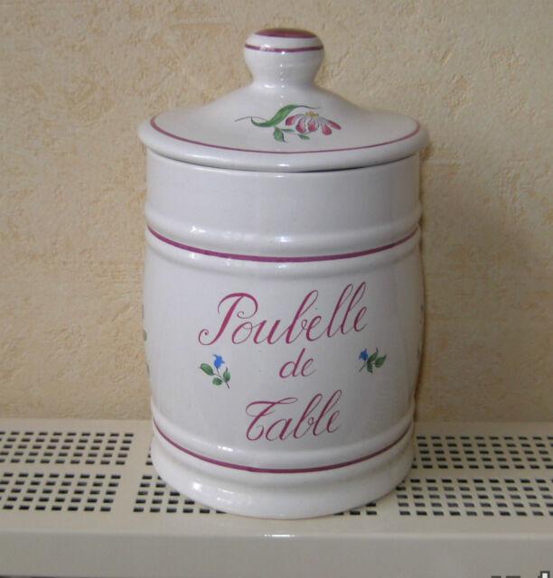"""GRANDE POUBELLE DE TABLE  LUNEVILLE KG FRANCE, décor Réverbère """"ROSE ET TULIPES"""""""