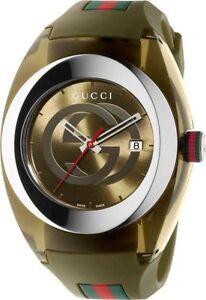 Buy Gucci Sync XXL Khaki Rubber Unisex Watch YA137106 online  d2ce209b534