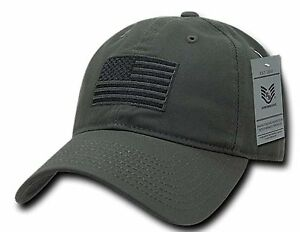 Olive USA US American Flag Patch Relaxed Graphic Tonal Polo Hat ... 36ff4148829