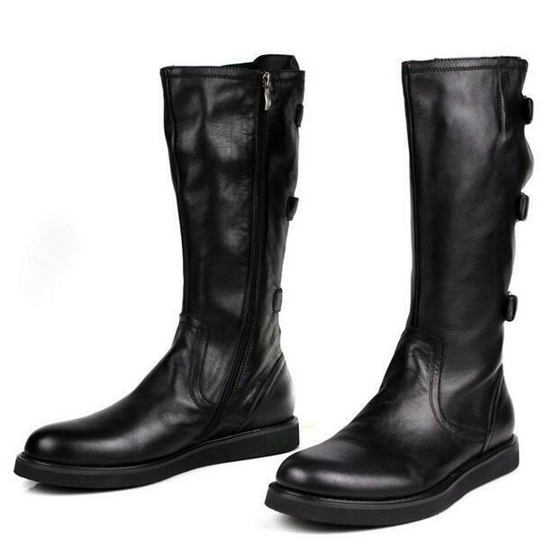 Mens Real Leather Knee High Boots Platform  Buckles Militray Casual Shoes Luxury