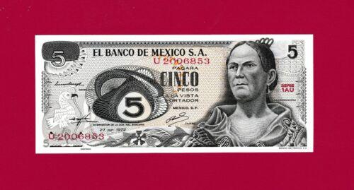 Beautiful Mexican UNC 5 PesoS 1972 Banknote Josefa Ortiz de Dominguez Banknote