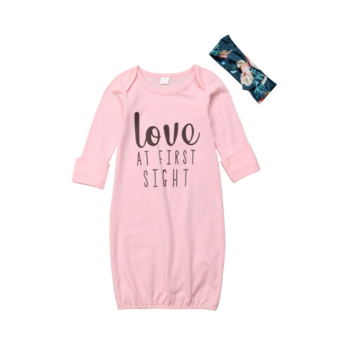 Pink Newborn Infant Baby Girl Sleeping Gown Swaddle Pajamas Coming Home Outfits#