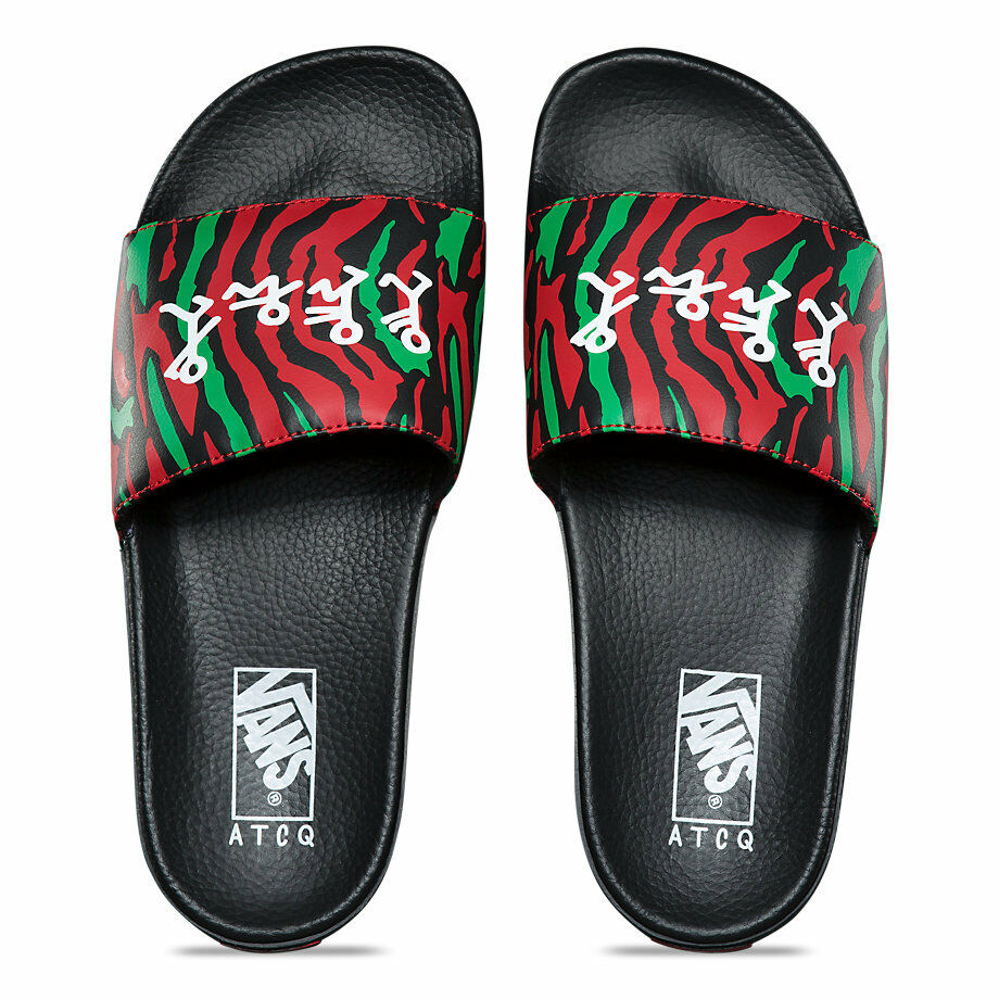 496eb48e00fd0 VANS VANS VANS x A TRIBE CALLED QUEST (ATCQ) SLIDES SANDALS BLACK MENS SZ  10 NEW SOLD OUT 71478c