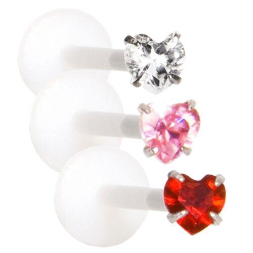 Labret Bioflex Hohlstab 1,2mm Kristall Herz Silber 925 Piercing Lippenpiercing