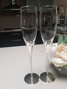 Seconds Sale Wedding Champagne Tulip Toasting Glasses Flutes Crystal Beads Stem Ebay