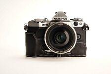 Genuine Real Leather Half Camera Case Bag Cover for Olympus OMD EM5 II M2 Black
