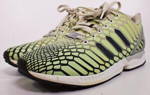 7c9ec3e5758d Adidas ZX Flux XENO Snake Men s Shoes White Green 3M Reflective Glow ...