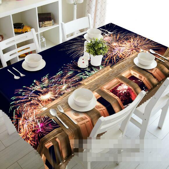 3D Fireworks 4 Tablecloth Table Cover Cloth Birthday Party Event AJ WALLPAPER AU