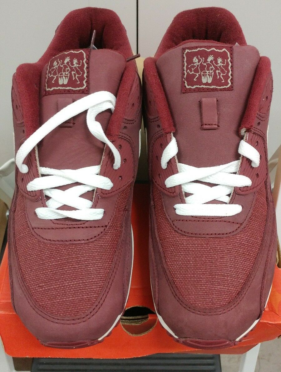 2005 Nike Air Max 90 Leather REDWOOD NET TAN WHITE MAROON 302519-611 NEW 9.5