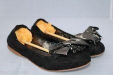 $650 MIU MIU BLACK BOW STONES BROOCH BALLET JEWEL JEWELLED FLAT FLATS SHOES 37