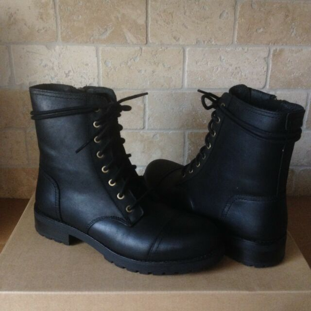 ac15436a355 UGG Kilmer Black Water-resistant Leather Combat Short Boots Size 11 Womens