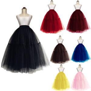 37d98796d5 Layers Women Midi Tulle Tutu Skirt Petticoat Crinoline Wedding ...