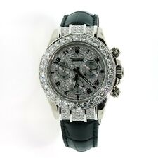 ROLEX DAYTONA 18K WHITE GOLD WITH BLACK LEATHER BAND AFTERMARKET DIAMONDS 116518