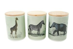 Set-Of-3-Safari-Canisters-Home-Kitchen-Containers-Zebra-Giraffe-Elephant