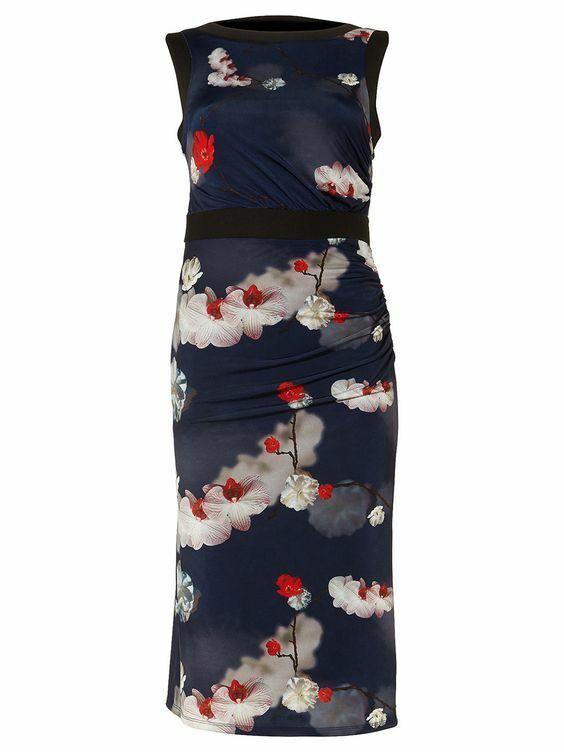 New Phase Eight Sakura Slinky Jersey Midi Floral Navy Dress Sz