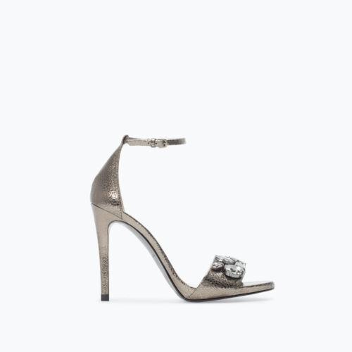 Zara Jewelled Leather High Heel Sandal Ref.5456/301 Size Eur 36 Us 6 New