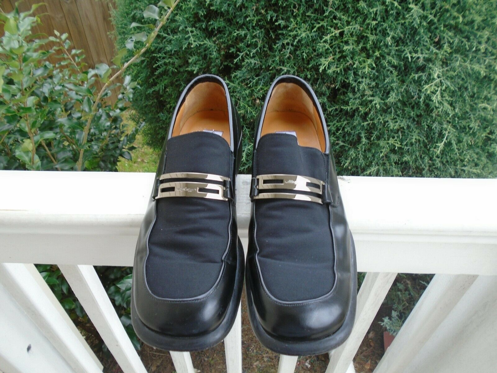 Mezlan Catano Leather Slip On Black leather fabric loafer dress shoes sz 10
