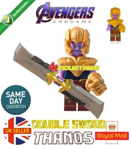 Thanos Mini Figure Gauntlet Gold Armour Avengers fin jeu MARVEL film Vendeur Britannique
