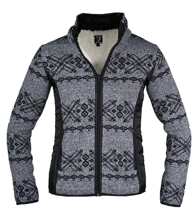 Horka Norway Paisley Ladies Winter Warm Sherpa Fleece Nordic Zip Up New Sweater