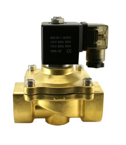 """1/"""" Brass NC Zero Differential Air Water Electric Process Solenoid Valve 110V AC"""
