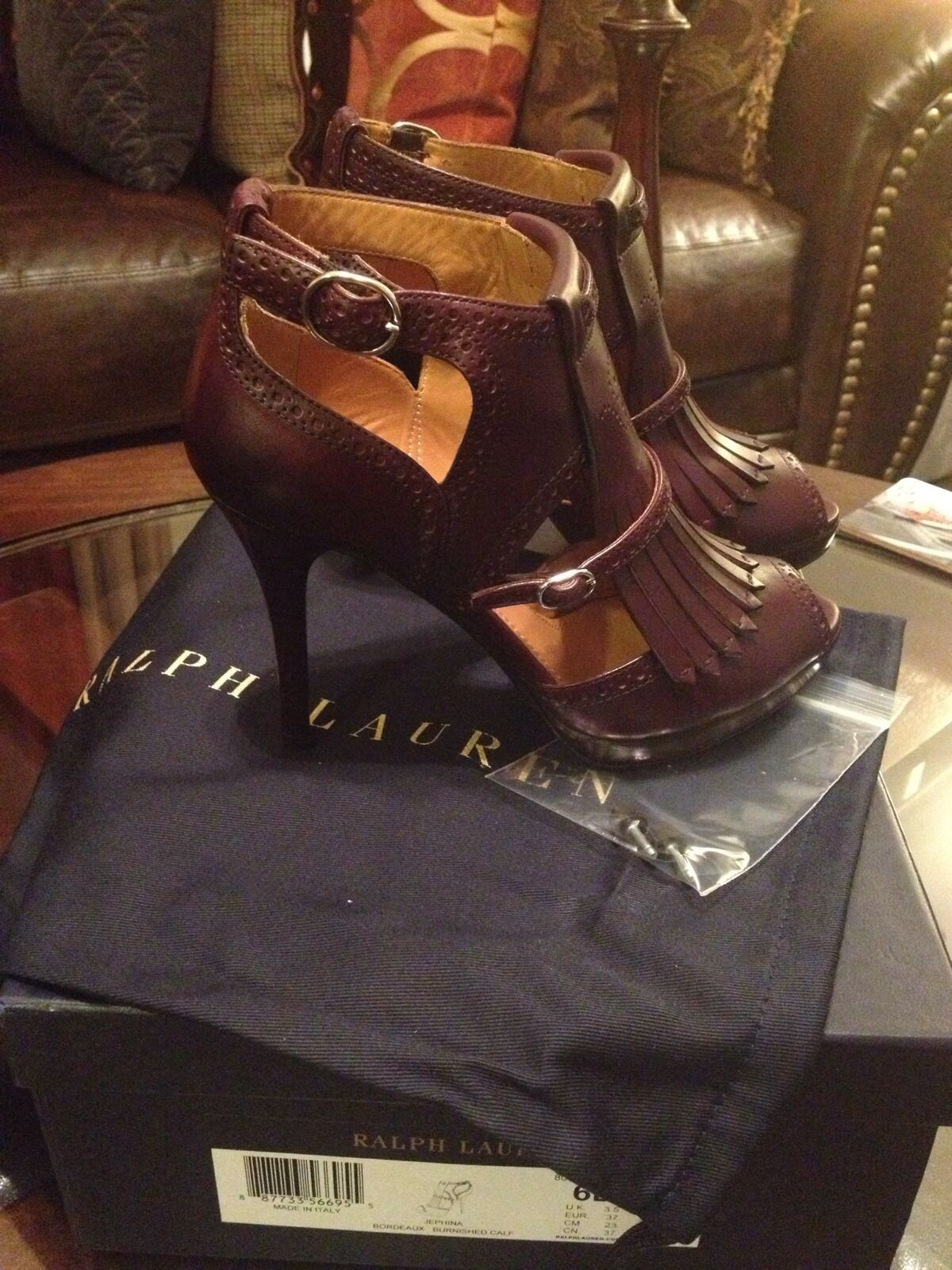 RALPH LAUREN collection  jephina  veau veau veau heels SZ 6 B made in  New in Box 274418