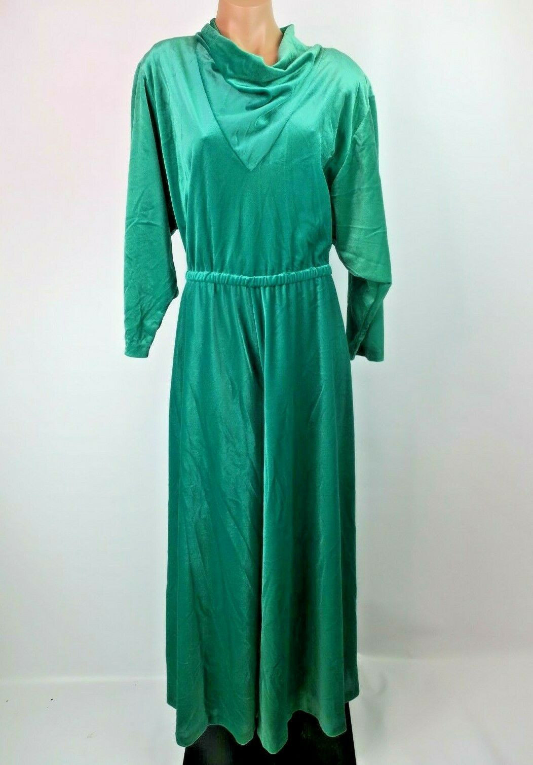 DAVID BROWN - 1980s Emerald Green Velour Caftan Jumpsuit Housecoat Robe M RARE