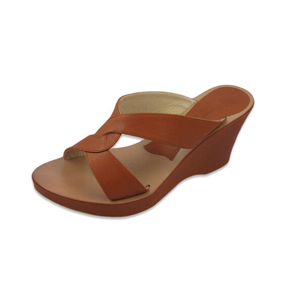 Medium Wedge Wedge Wedge Ladies Brown Summer Leather Sandals,Open Toe Size 10, Made in  90a062