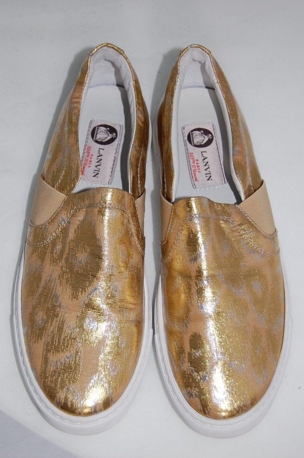 New $495 LANVIN Gold Leopard Basket Slip-On Brocade Sneaker Flat Shoes 7 US/ 37